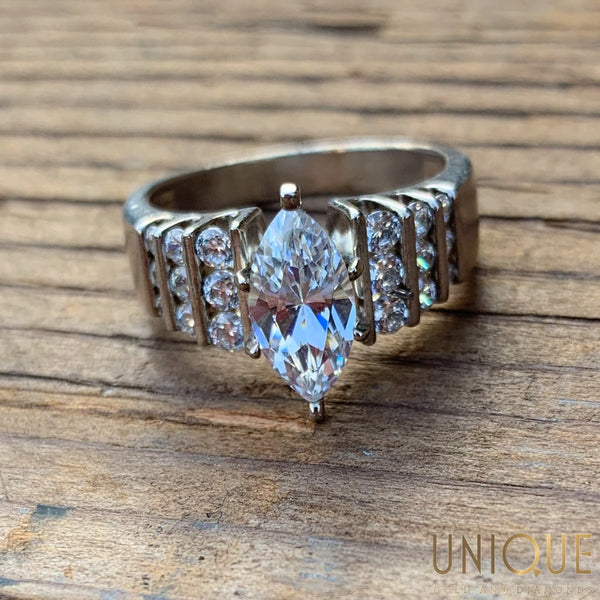 Sterling Silver Marquis Cut CZ Ring - Default Title