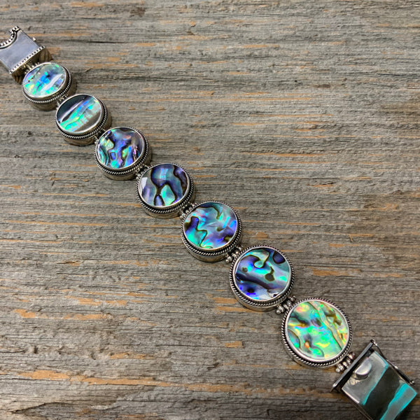 Vintage Mother of Pearl Sterling Silver Bracelet