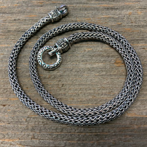 Vintage Sterling Silver Wheat Link Chain with marcasite closure