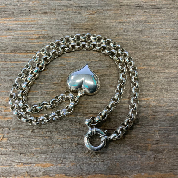 Vintage Sterling Silver Rolo Link Necklace with a Heart Pendant