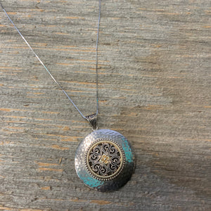 Vintage Sterling Silver hammered circular pendant with box link chain