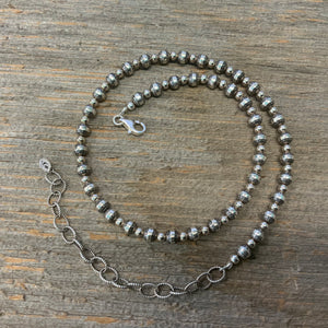 Vintage Sterling Silver Bead Necklace