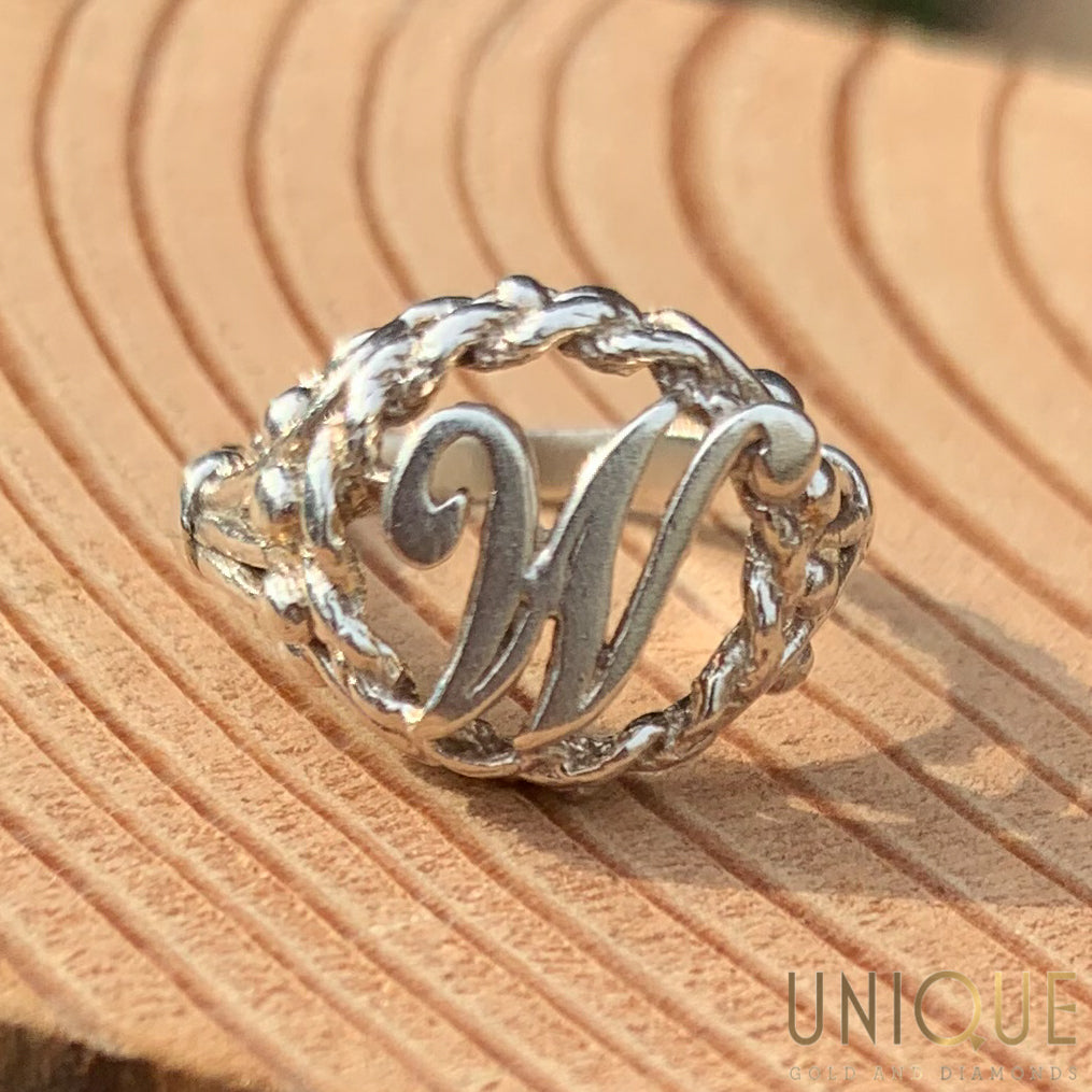 Vintage Sterling Silver Initial Ring