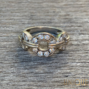 Vintage Sterling Silver CZ Three Link Ring