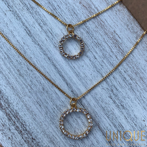 Sterling Silver Gold Plated Double CZ Circles Necklace