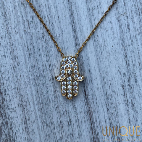 Sterling Silver Gold Plated Hamsa Necklace