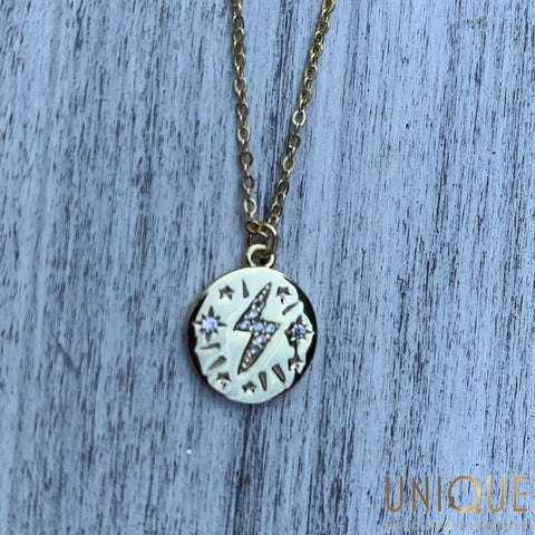 Sterling Silver Gold Plated Lightning Bolt Necklace
