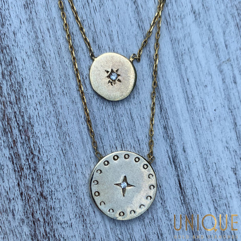 Sterling Silver Gold Plated Two Chains With Round Charms Necklace