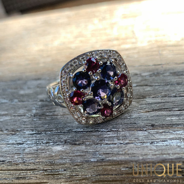 Vintage Sterling Silver Amethyst And Garnet Ring