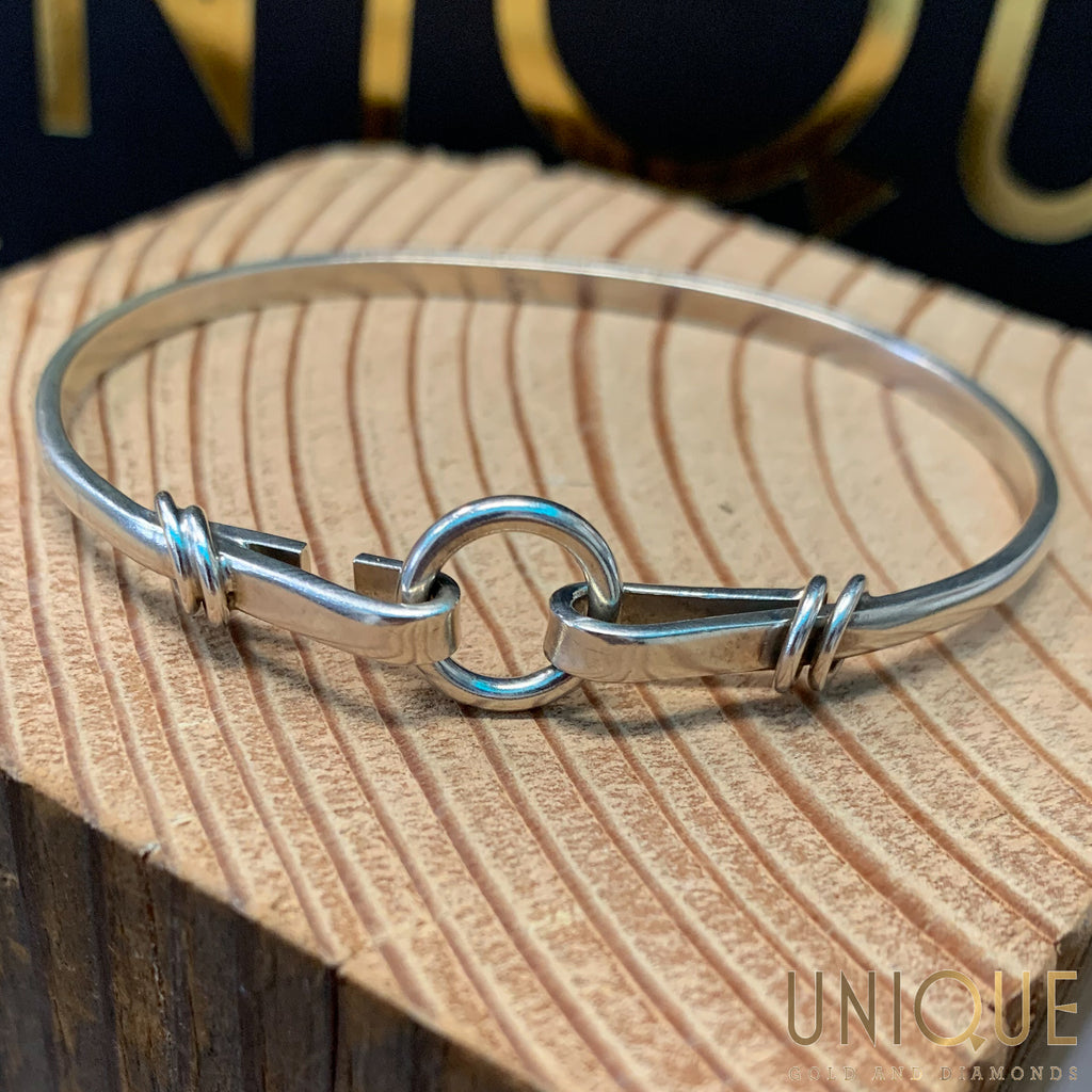 Vintage Sterling Silver Circle And Hook Bangle