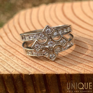 Vintage Sterling Silver CZ Cross Ring