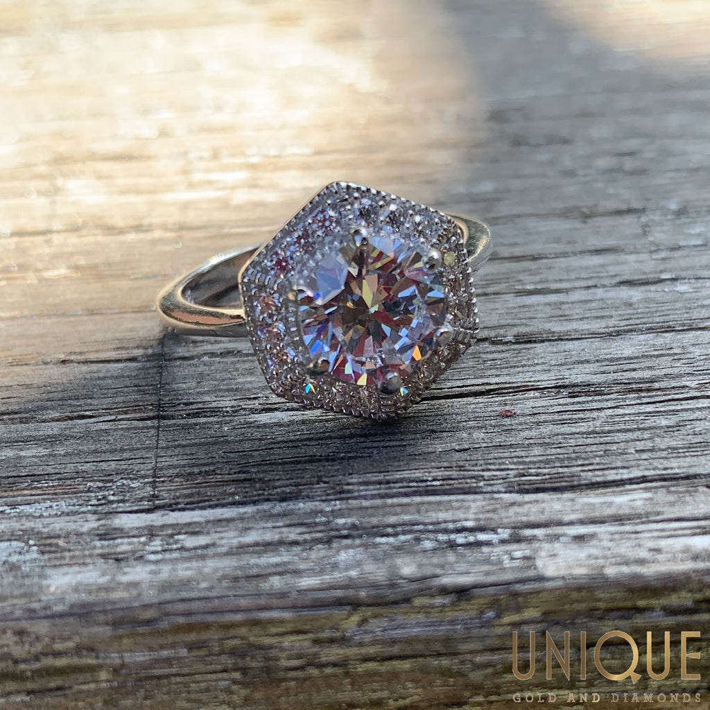 Vintage Sterling Silver CZ Ring With Halo