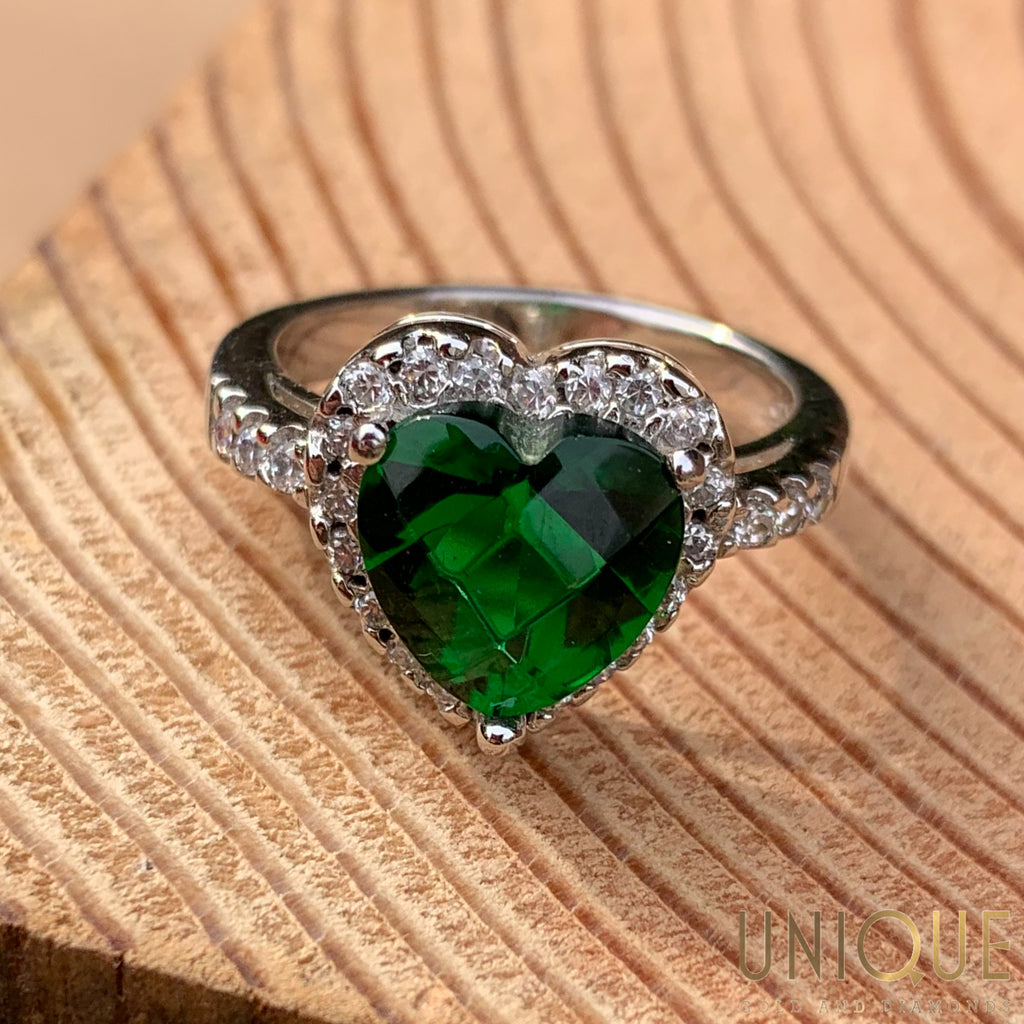 Vintage Sterling Silver Emerald Heart with CZs