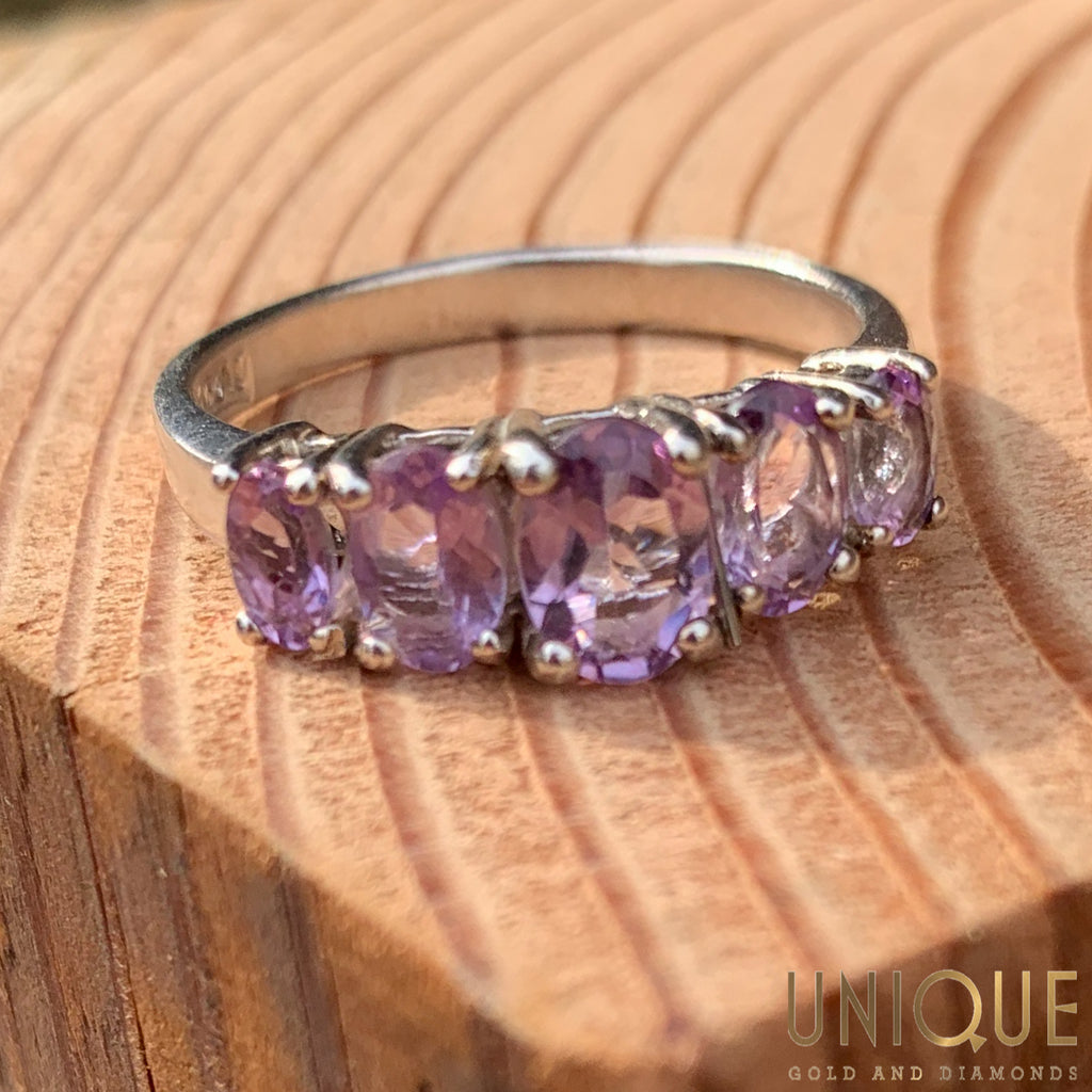 Vintage Sterling Silver Five Amethysts Band