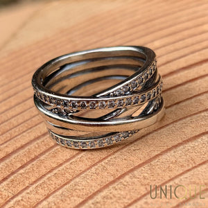 Vintage Sterling Silver Five Band Appearance With CZs Ring