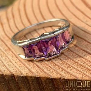 Vintage Sterling Silver Five Emerald Cut Amethysts Band Ring