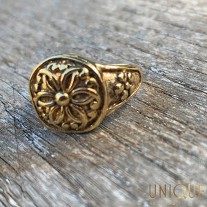 Vintage Sterling Silver Gold Plated Flower Head Ring