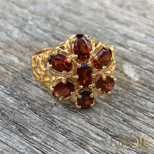 Vintage Sterling Silver Gold Plated Garnet Flower Ring