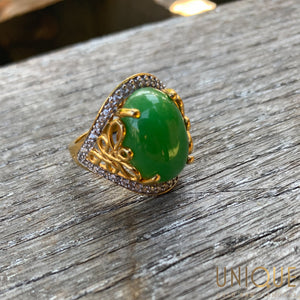 Vintage Sterling Silver Gold Plated Large Green Stone Ring
