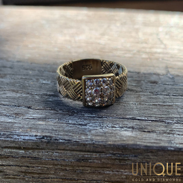 Vintage Sterling Silver Gold Plated Ring with CZ Filled Square