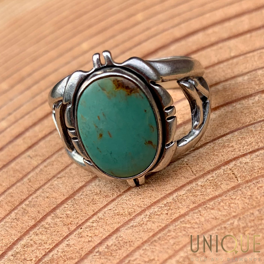 Vintage Sterling Silver Green Opal Ring
