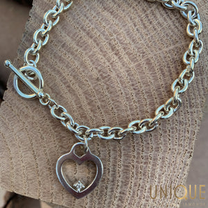 Vintage Sterling Silver Heart And Toggle Bracelet
