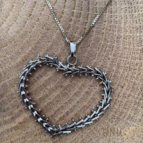 Vintage Sterling Silver Heart Necklace - Default Title