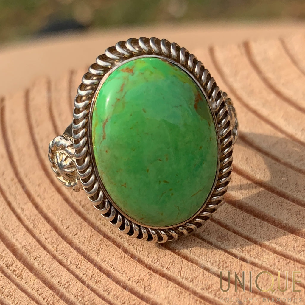 Vintage Sterling Silver Large Green Stone Ring