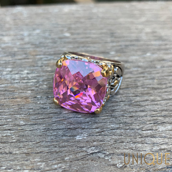 Vintage Sterling Silver Large Pink Topaz Ring