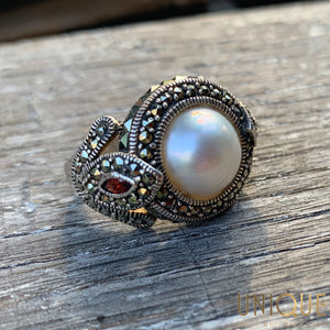 Vintage Sterling Silver Marquisette And Garnet With Half Pearl