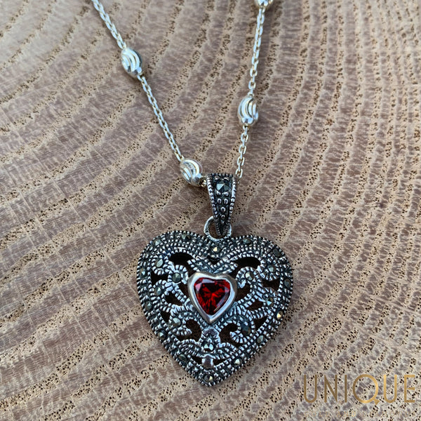 Vintage Sterling Silver Marquisette Heart With Red Stone