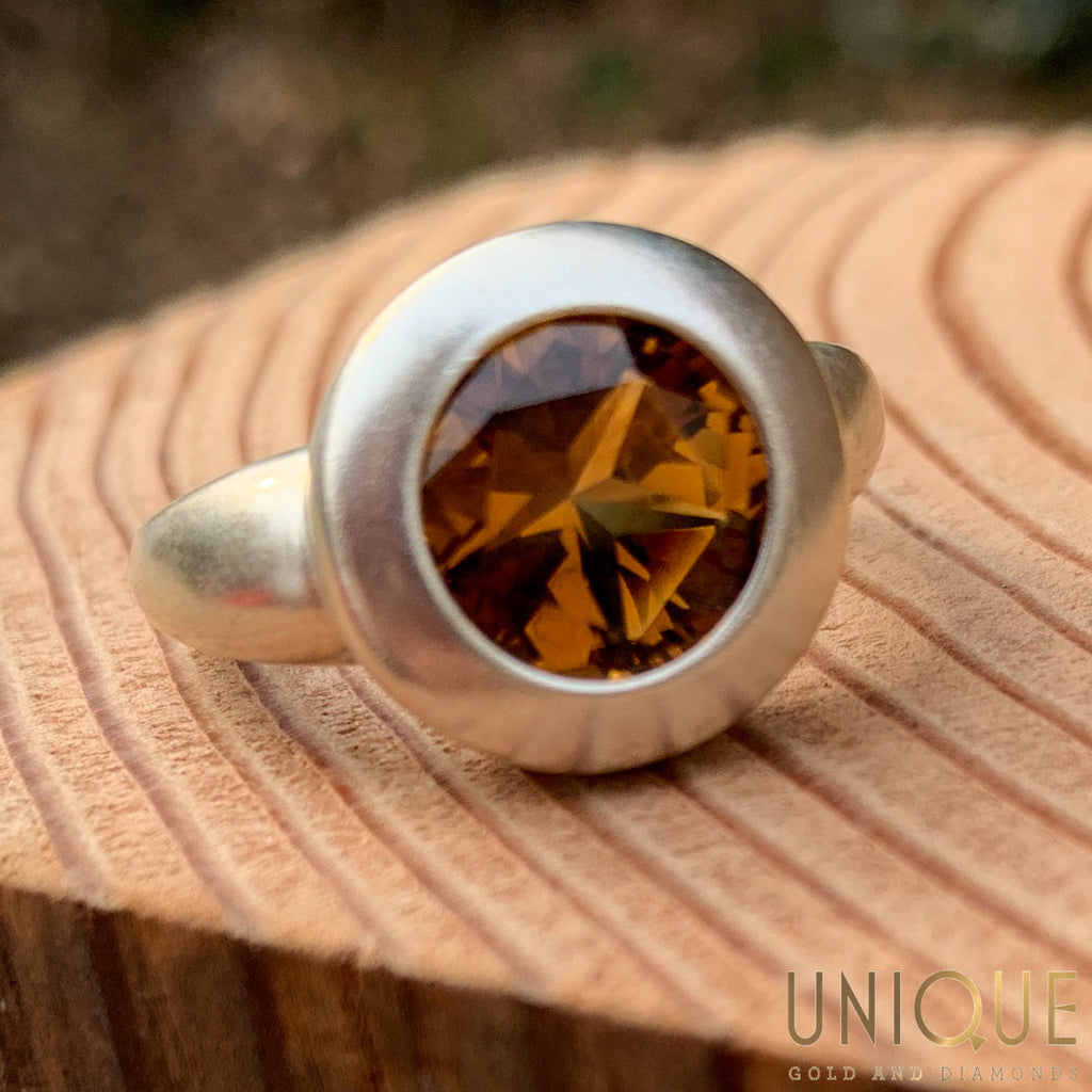 Vintage Sterling Silver Matte Brushed Ring With Citrine Stone