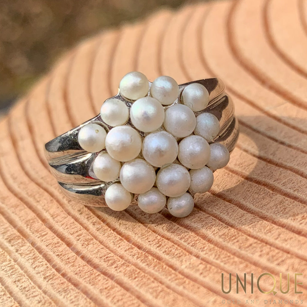 Vintage Sterling Silver Pearl Cluster Ring