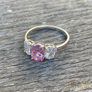 Vintage Sterling Silver Pink Topaz and Two White CZ Ring