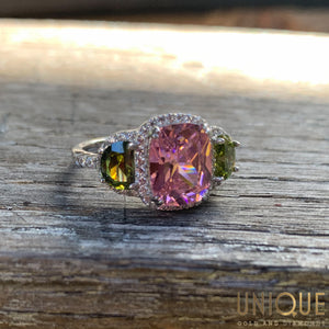 Vintage Sterling Silver Ring With Pink Tourmaline, Peridot And CZ
