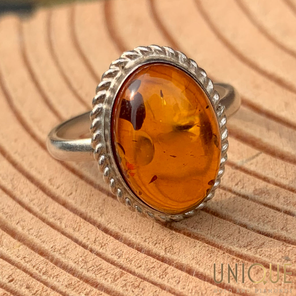 Vintage Sterling Silver Ring With Amber Stone