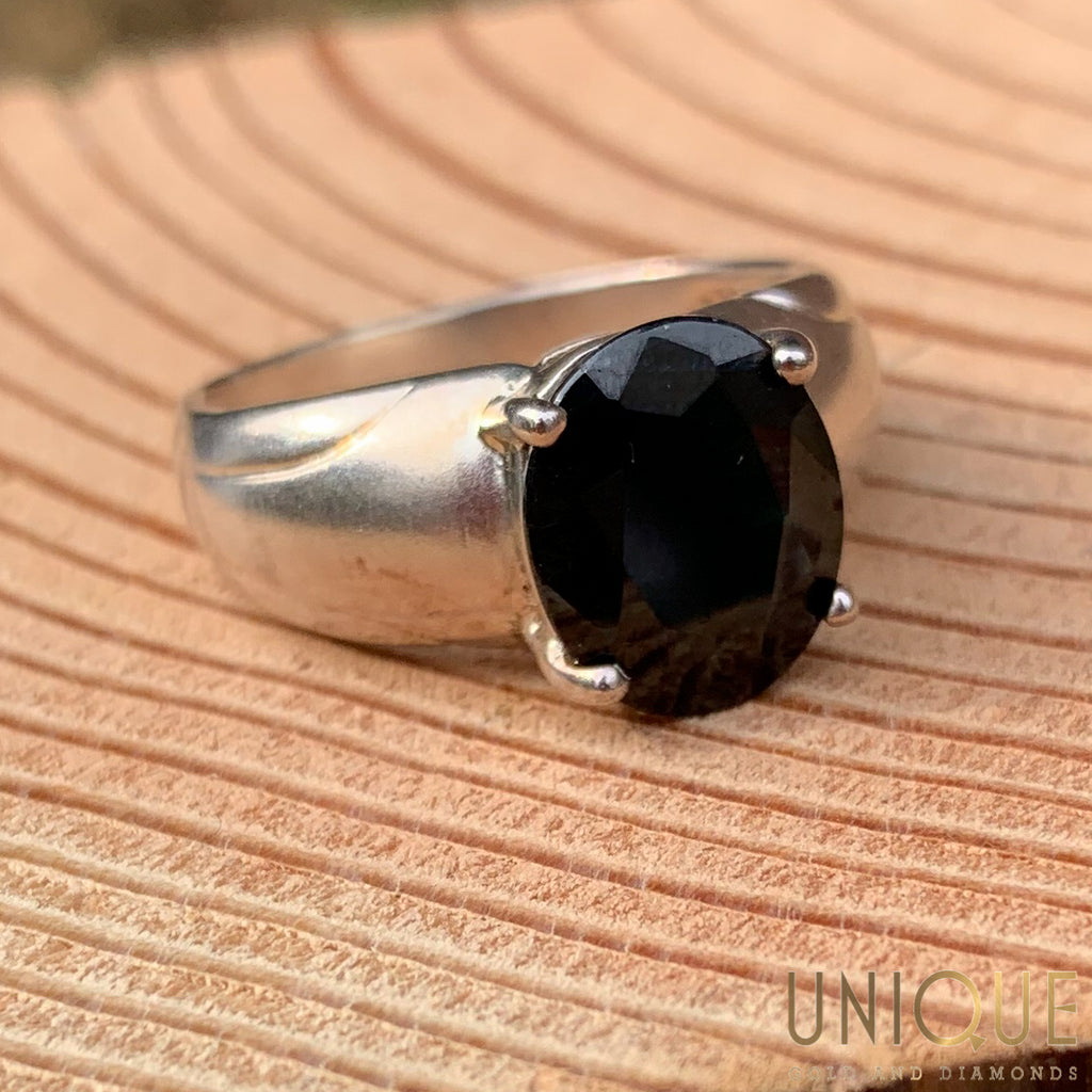 Vintage Sterling Silver Ring With Large Onyx Stone
