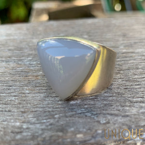 Vintage Sterling Silver Ring with Large Triangular Stone