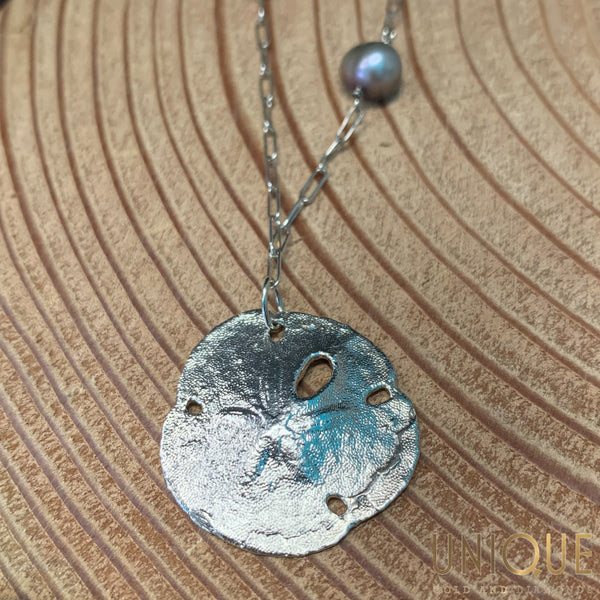 Vintage Sterling Silver Sand Dollar Necklace