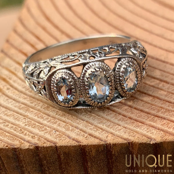 Vintage Sterling Silver Three CZ Antique Style Ring