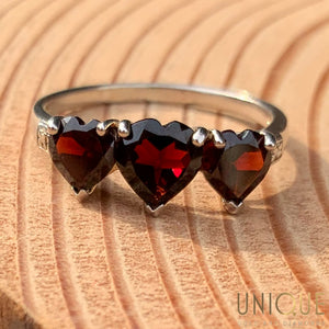 Vintage Sterling Silver Three Red Heart Stones Ring