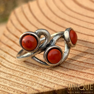 Vintage Sterling Silver Three Red Stone Ring