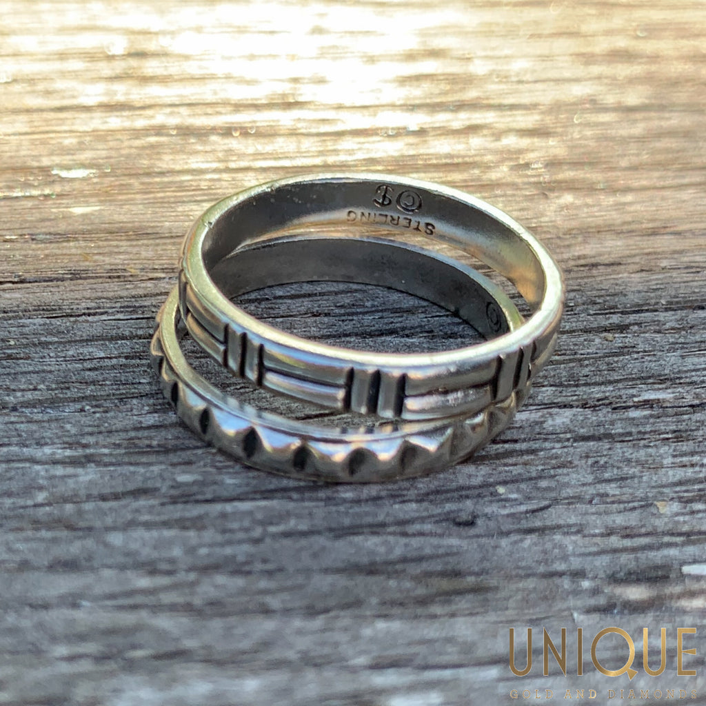 Vintage Sterling Silver Two Band Set