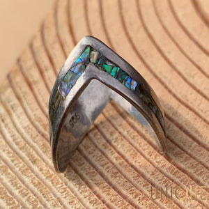 Vintage Sterling Silver V Ring With Mother Of Pearl Inlay