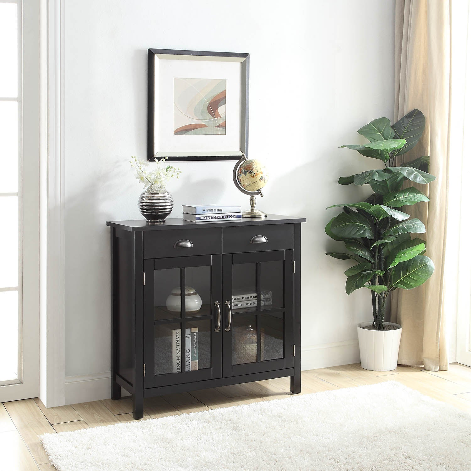 Gracie Accent Cabinet 2 Glass Doors 2 Drawers Usl Online