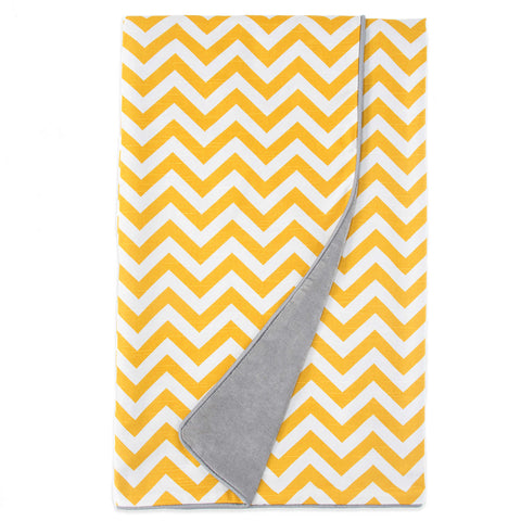 Swizzle Yellow Twin Duvet (Reversible Yellow Chevron/Grey Velvet)