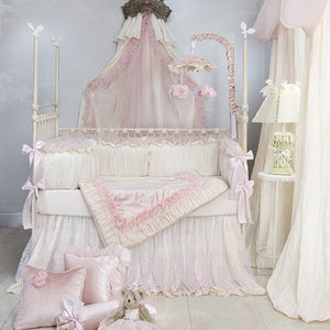 Anastasia Cream 4Pc Set (Includes quilt, bumper, cream sheet, crib skirt)