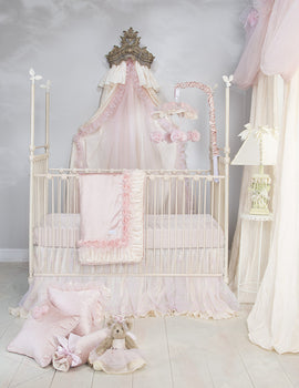 Anastasia Cream 3Pc Set (Includes quilt, pink moiré sheet, crib skirt)