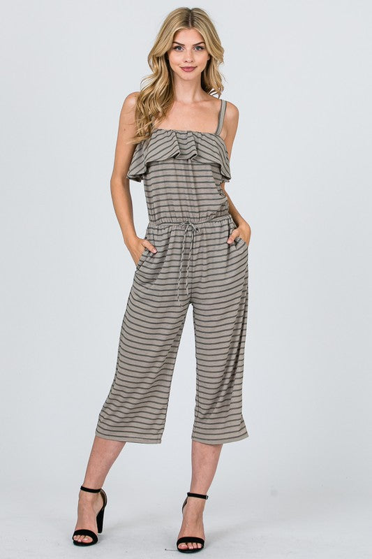 FAITH RUFFLE TRIM STRIPED JUMPSUIT