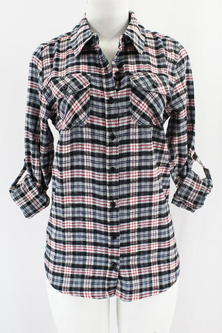 CLOTHING OF AMERICA ROLLED UP FLANNEL PLAID SHIRT